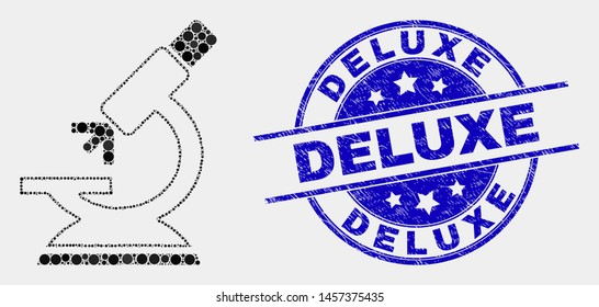 Dotted microscope mosaic pictogram and Deluxe stamp. Blue vector rounded distress stamp with Deluxe caption. Vector composition in flat style. Black isolated microscope mosaic of random dots,