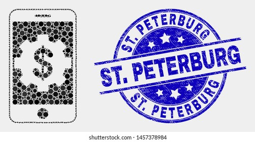 Dotted mobile bank settings mosaic pictogram and St. Peterburg seal stamp. Blue vector rounded scratched seal stamp with St. Peterburg message. Vector composition in flat style.