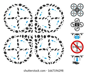Dotted Mosaic based on quadrotor screws rotation. Mosaic vector quadrotor screws rotation is formed with scattered elliptic items. Bonus icons are added.