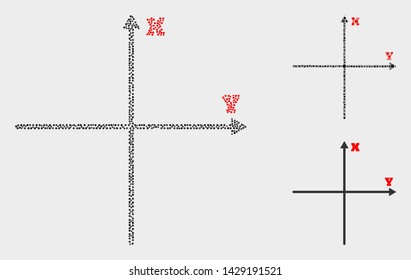 Dotted and mosaic Cartesian axes icons. Vector icon of Cartesian axes formed of irregular round dots. Other pictogram is formed from small rectangles.