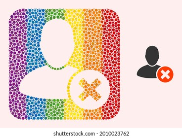 Dotted mosaic delete user subtracted icon for LGBT. Rainbow colored rounded square mosaic is around delete user cut out shape. LGBT rainbow colors. Vector delete user composition of spheric points.