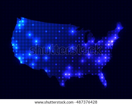 Dotted Night Map United States America Stock Vector Royalty Free - Us-map-night