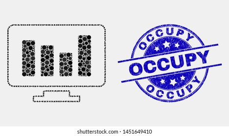 Dotted online chart mosaic icon and Occupy seal stamp. Blue vector round scratched seal stamp with Occupy text. Vector combination in flat style.