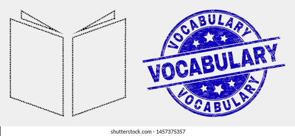 Dotted open book mosaic icon and Vocabulary stamp. Blue vector rounded scratched seal with Vocabulary message. Vector combination in flat style. Black isolated open book mosaic of random spheres,