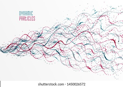 Dotted particle array flowing vector abstract background, life forms bio theme microscopic design, dynamic dots elements in motion.