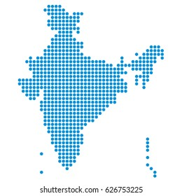 Dotted, pixel map of India. Vector illustration.
