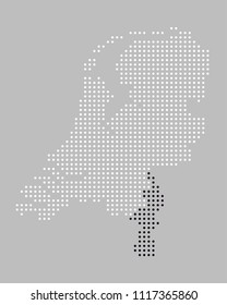 Dotted / pixels map of the province of Limburg of the Netherlands. Provinces are grouped in EPS file and can be easily selected and changed (colors) separately.