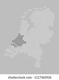 Dotted / pixels map of the province of Zuid-Holland of the Netherlands. Provinces are grouped in EPS file and can be easily selected and changed (colors) separately.