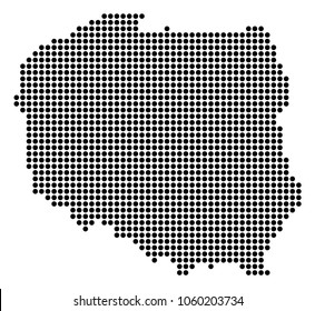 Dotted Poland Map. Vector pattern of Poland Map composed of small circles. Vector geographic map.