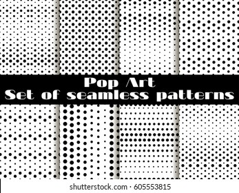 Dotted, Pop Art seamless pattern background. Black White color. Set vector illustration