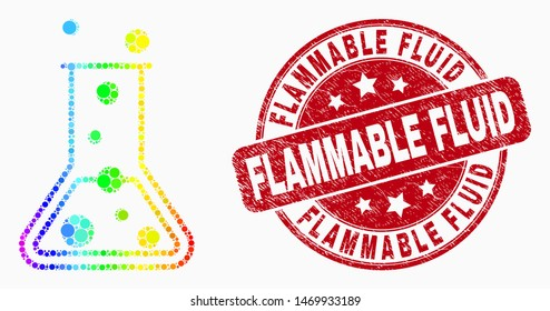 Dotted rainbow gradated chemical retort mosaic icon and Flammable Fluid seal stamp. Red vector rounded distress seal stamp with Flammable Fluid text. Vector combination in flat style.