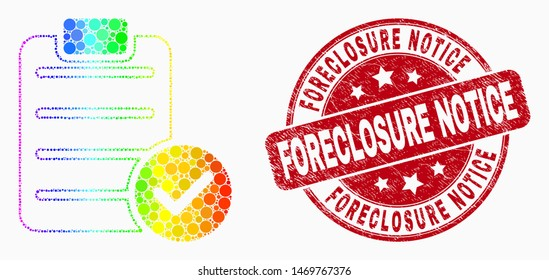 """Dotted rainbow gradiented accept pad text mosaic icon and """"Foreclosure Notice"""" stamp. Red vector rounded scratched stamp with""""Foreclosure Notice"""" caption. Vector combination in flat style."""