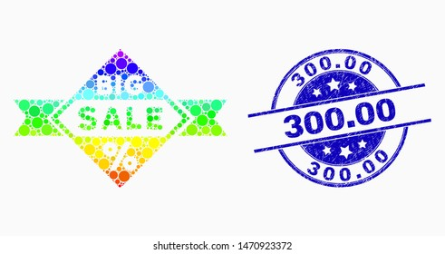 Dotted rainbow gradiented big sale mosaic icon and 300.00 seal stamp. Blue vector round textured seal with 300.00 phrase. Vector combination in flat style.