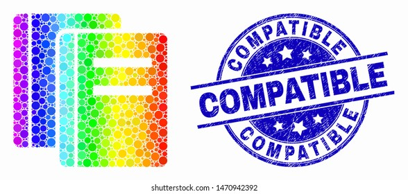 Dotted rainbow gradiented books mosaic pictogram and Compatible seal stamp. Blue vector round grunge seal stamp with Compatible message. Vector collage in flat style.