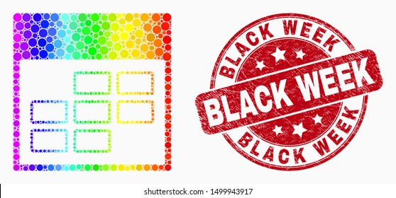 Dotted rainbow gradiented calendar week items mosaic icon and Black Week seal stamp. Red vector rounded textured stamp with Black Week caption. Vector combination in flat style.