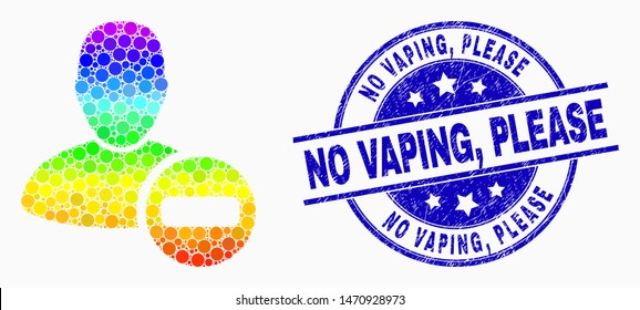Dotted rainbow gradiented remove user mosaic icon and No Vaping, Please seal stamp. Blue vector round textured seal with No Vaping, Please message. Vector collage in flat style.