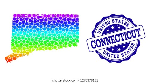 Dotted rainbow map of Connecticut State and blue grunge round stamp seal. Vector geographic map in bright rainbow gradient colors on a white background.