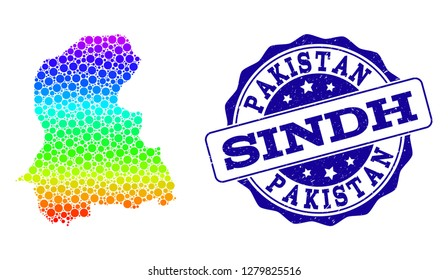 Dotted rainbow map of Sindh Province and blue grunge round stamp seal. Vector geographic map in bright rainbow gradient colors on a white background.