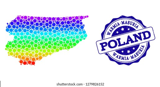 Dotted rainbow map of Warmia-Masuria Province and blue grunge round stamp seal. Vector geographic map in bright rainbow gradient colors on a white background.