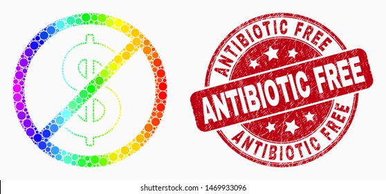 Dotted rainbow stop dollar mosaic pictogram and Antibiotic Free watermark. Red vector rounded grunge watermark with Antibiotic Free text. Vector collage in flat style.
