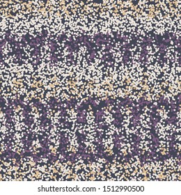 Dotted random bleed stripe variegated background. Seamless pattern in pointillism spotted style. Boho gradient textile blend all over print. Trendy digital disrupted ethnic fashion swatch. Gold Purple