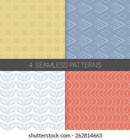 Dotted seamless patterns on red,gold,blue and beige background. Vector art. Perfect for wallpapers, pattern fills, web page backgrounds, surface textures, textile.