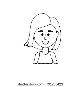 dotted shape avatar woman with hairstyle and blouse design