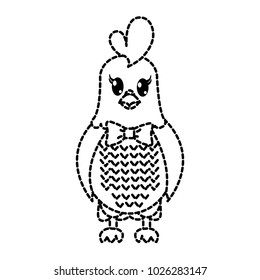 dotted shape hen cute animal with ribbon bow
