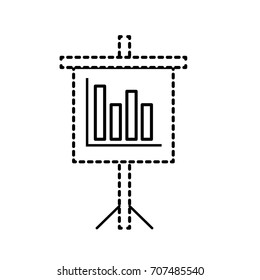 dotted shape presentation business document with statistics bars graphy