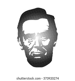 Dotted Silhouette Abraham Lincoln. American president, vector illustration