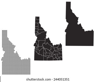 Dotted and Silhouette idaho map