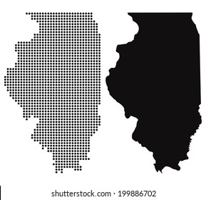 Dotted and Silhouette illinois map