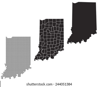Dotted and Silhouette indiana map