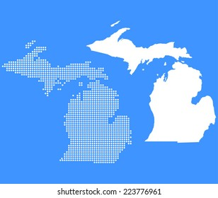 Dotted and Silhouette michigan map