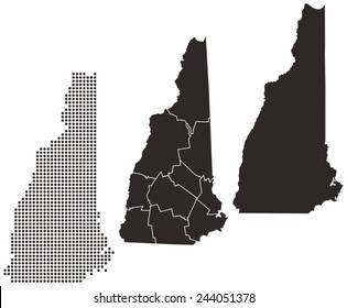 Dotted and Silhouette new hampshire map
