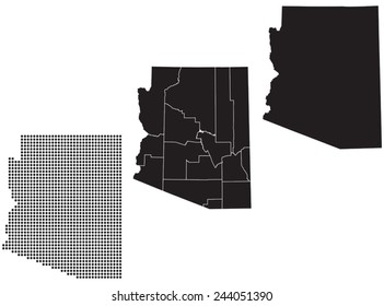 Dotted and Silhouette State of Arizona map