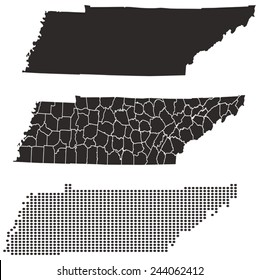Dotted and Silhouette tennessee map