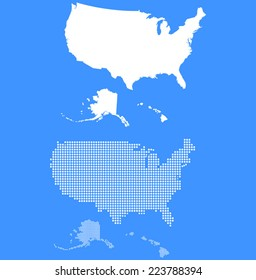 Dotted and Silhouette united states map