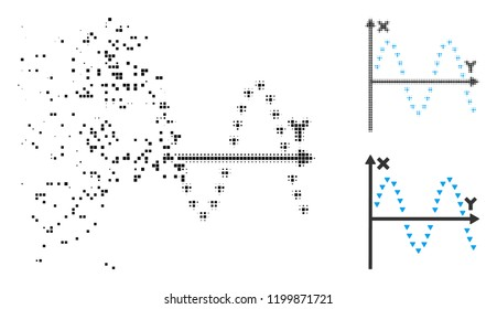 Dotted sine plot icon in disappearing, pixelated halftone and undamaged whole variants. Pixels are grouped into vector dissolving dotted sine plot icon. Disappearing effect uses rectangle particles.