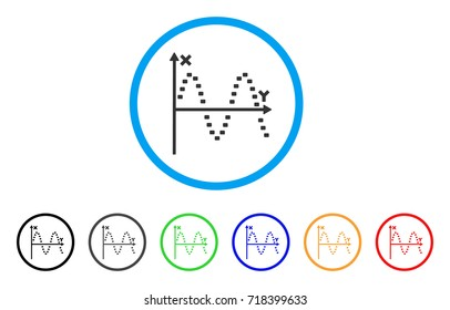 Dotted Sine Plot rounded icon. Style is a flat dotted sine plot gray symbol inside light blue circle with black, gray, green, blue, red, orange versions.