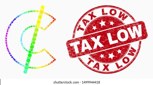 Dotted spectral cent mosaic icon and Tax Low seal. Red vector round distress seal stamp with Tax Low text. Vector composition in flat style. Spectrum gradient cent mosaic of random dots,