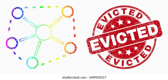 Dotted spectral links mosaic icon and Evicted seal. Red vector rounded textured stamp with Evicted phrase. Vector combination in flat style. Spectral gradiented links mosaic of randomized dots,
