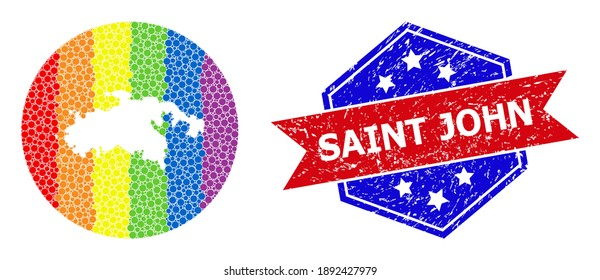 Dotted spectral map of Saint John Island mosaic designed with circle and subtracted space, and scratched seal stamp. LGBT rainbow colored pixels around empty map of Saint John Island.