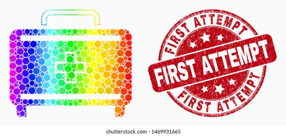 Dotted spectrum first aid case mosaic pictogram and First Attempt seal stamp. Red vector round distress seal with First Attempt message. Vector combination in flat style.