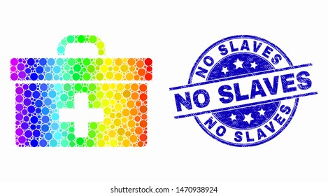Dotted spectrum medical case mosaic pictogram and No Slaves stamp. Blue vector round textured watermark with No Slaves caption. Vector combination in flat style.