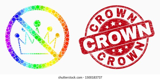 Dotted spectrum stop crown mosaic pictogram and Crown watermark. Red vector rounded distress watermark with Crown phrase. Vector composition in flat style.