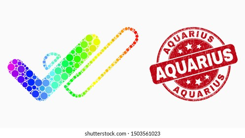Dotted spectrum valid ticks mosaic icon and Aquarius seal stamp. Red vector rounded grunge seal with Aquarius text. Vector combination in flat style.