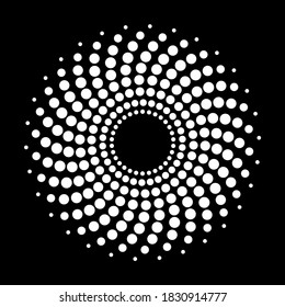 dotted spiral creating abstract shape. Created out of dots