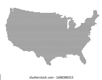 Dotted style map of United States of America (USA) on white background