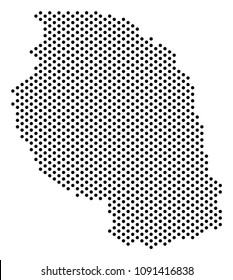 Dotted Tanzania map. Vector geographic scheme. Cartographic pattern of Tanzania map combined with filled circles.